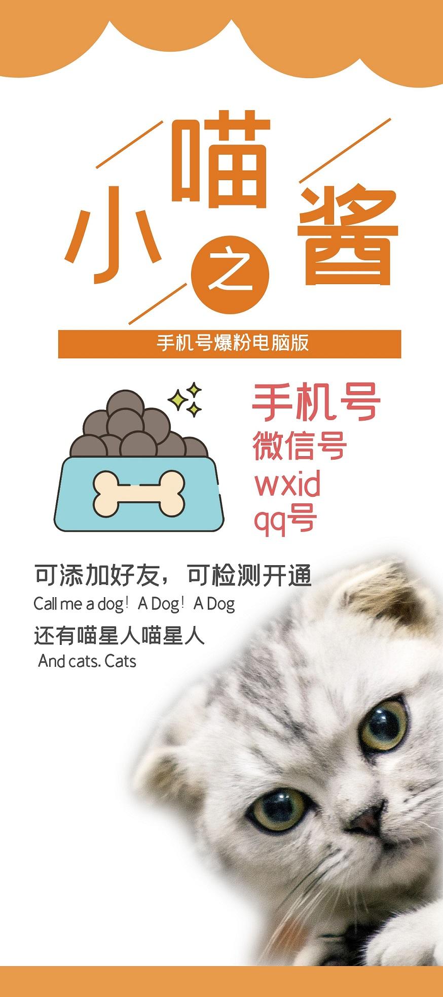 【小猫手机通讯录】小喵酱电脑版手机号QQ号wxid导入爆粉 批量检测开通